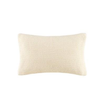 12 x20 bree knit lumbar throw pillow cover ivory