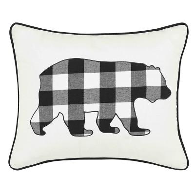 black cabin plaid bear throw pillow eddie bauer