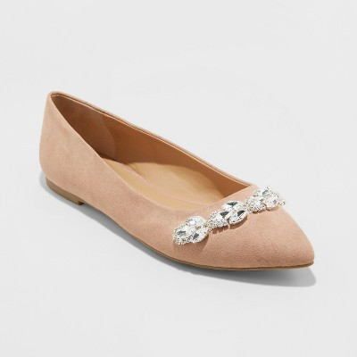Women's Jemma Embellished Pointed Toe Ballet Flats - A New Day™