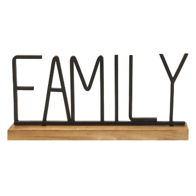 21 25 x 9 25 metal and wood family table top black natural stratton home decor