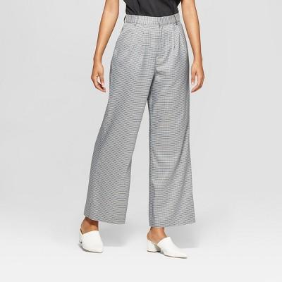 Women's Plaid Pleat Front Wide Leg Trouser - Prologue™ Gray