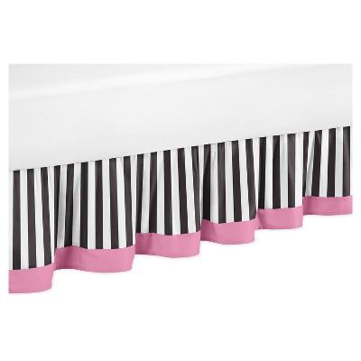Pink & Black Striped Bed Skirt - Sweet Jojo Designs®