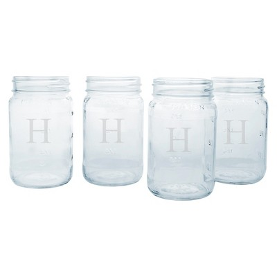"4ct ""H"" Monogram Wedding Mason Jars"