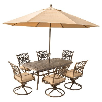 best outdoor dining chairs phil and teds poppy high chair cover traditions 9pc rectangle metal patio set w 9 umbrella stand tan hanover target