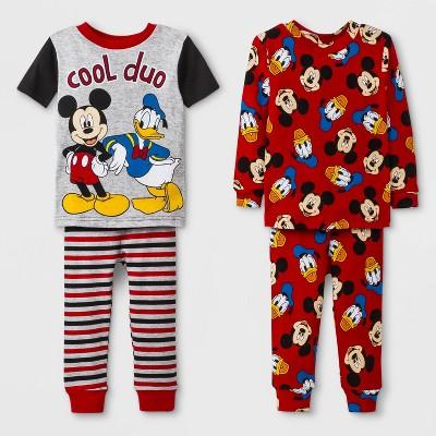 Toddler Boys' Mickey Mouse 4pc Pajama Set - Red