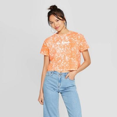 Women's Short Sleeve Crewneck Be Kind Cropped T-Shirt - FREEZE (Juniors') - Orange