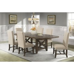 Fabric Side Chairs Chair Height Stools Francis 7pc Dining Set Table And 6 Brown Picket House Furnishings