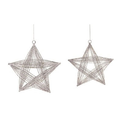 """Melrose 2ct Glittered 3-D Wire Frame Star Christmas Ornament Set 8.25"""" - Silver"""