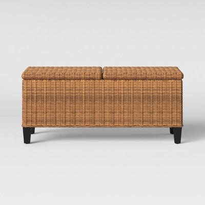 fullerton steel wicker patio folding storage coffee table brown project 62