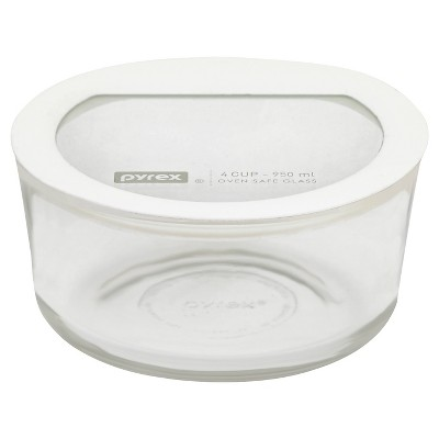Pyrex 4 Cup Round No leak Glass Storage Container White