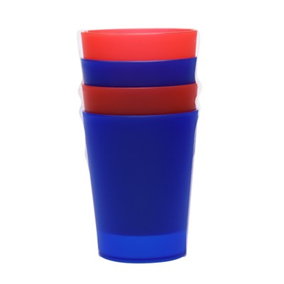 Plastic Tumblers 19oz Red/Blue - Set of 4