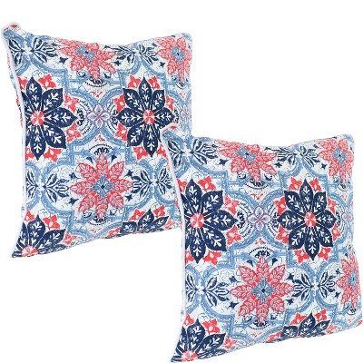2pc 16 square indoor outdoor decorative throw pillow set blue and red floral sunnydaze decor
