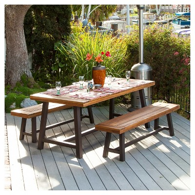 carlisle 3pc rustic wood patio dining set brown black christopher knight home