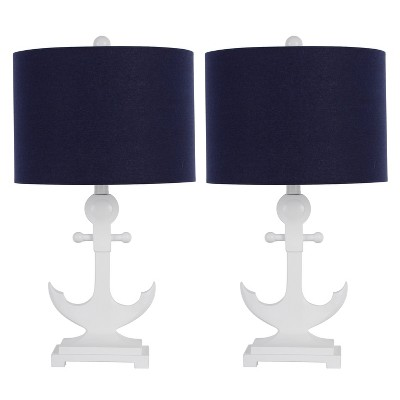 set of 2 adrian anchor resin table lamps white decor therapy