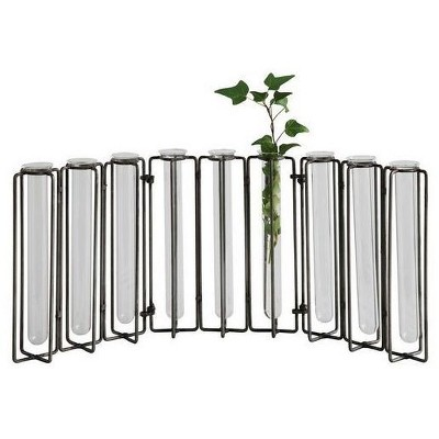 """Glass Vases in Metal Stand (18.5""""x7.5"""") - 3R Studios"""