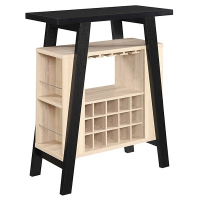 Newport Bar Console Black & Weathered White - Convenience Concepts