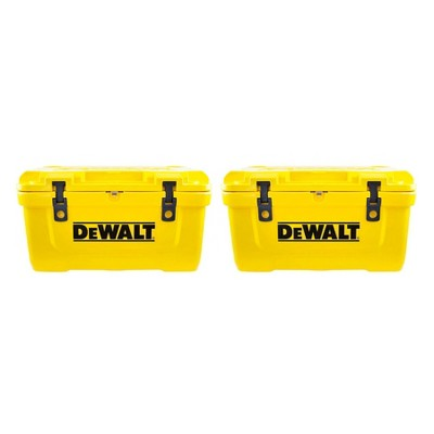 Dewalt 65 Quart Roto Molded Insulated Lunch Box Portable Drink Cooler (2 Pack)