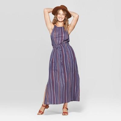 Women's Sleeveless Striped Maxi Dress - Universal Thread™ Navy