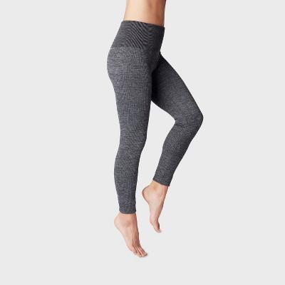 Women's Gray Ribbed Fleece Lined Leggings