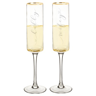 """2ct """"Wifey & Hubby"""" Gold Rim Champagne Flutes"""