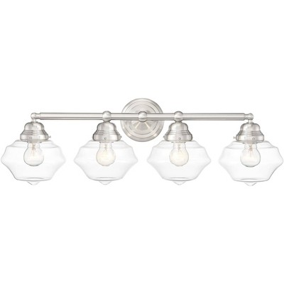 possini euro design modern wall light brushed nickel hardwired 30 3 4 wide 4 light fixture schoolhouse glass for bathroom vanity