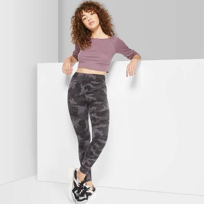 Women's Camo Print High-Waist Leggings - Wild Fable™ Black/Gray