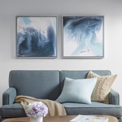 Framed Wall Art For Living Room Tufted Chairs Lagoon 2 Gel Coat Canvas 2pc Decorative Set Blue