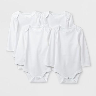 Baby Boys' Basic 4pk Long Sleeve Bodysuit - Cloud Island™ White