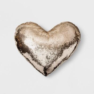 Sequin Oversize Heart Throw Pillow Gold