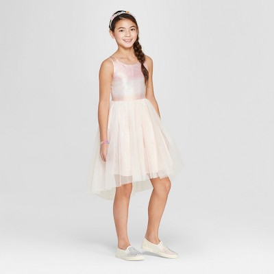 Girls' Hi-Lo A Line Dress - Cat & Jack™ Light Pink M