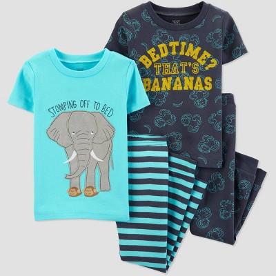 Baby Boys' 4pc Blue Elephant Pajama Set - Just One You® made by carter's Aqua/Navy