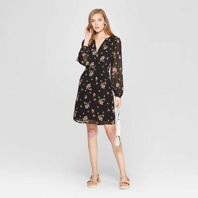 Women's Floral Print Long Sleeve Chiffon Dress - A New Day™ Black
