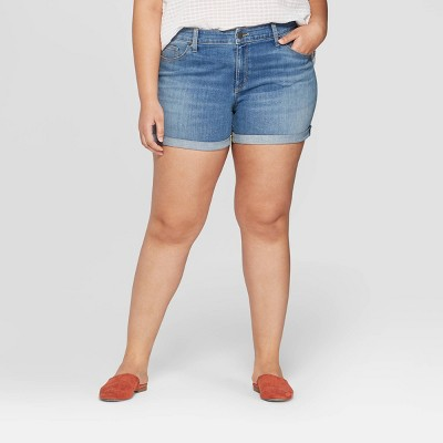 Women's Plus Size Mid-Rise Jean Shorts - Universal Thread™ Medium Blue