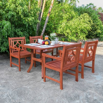 malibu 5pc wood outdoor patio dining set tan vifah
