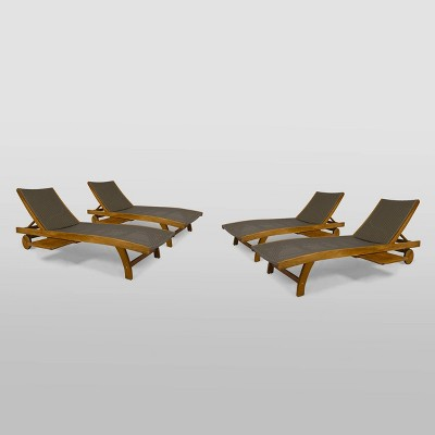 4pk banzai wicker wood patio chaise lounge chair brown christopher knight home