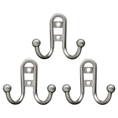 Liberty Hardware Double Robe Hook with Ball End - Satin Nickel (Set of 3)