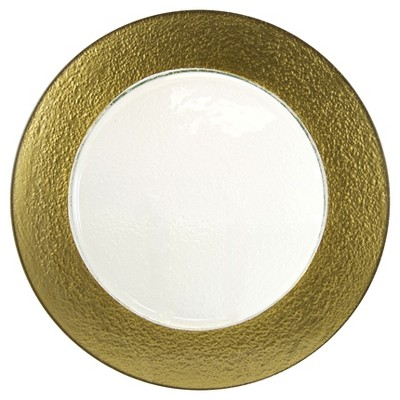 """10 Strawberry Street Colored Rim Glass Charger Plates Gold - 13""""x13"""" Set of 6"""