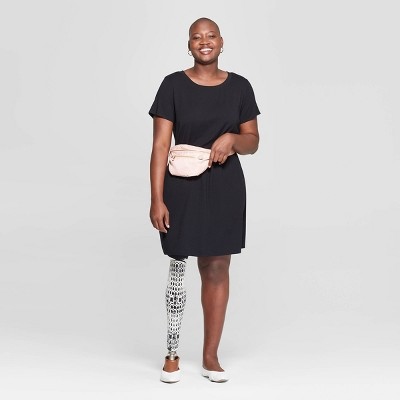 Women's Plus Size Short Sleeve Crewneck T-Shirt Dress - Ava & Viv™ Black