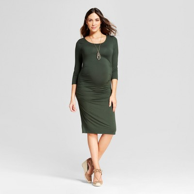 Maternity 3/4 Sleeve Pleated Dress - Isabel Maternity by Ingrid & Isabel™ Forest Green XXL