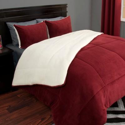 sherpa fleece comforter set full queen burgundy 3pc yorkshire home