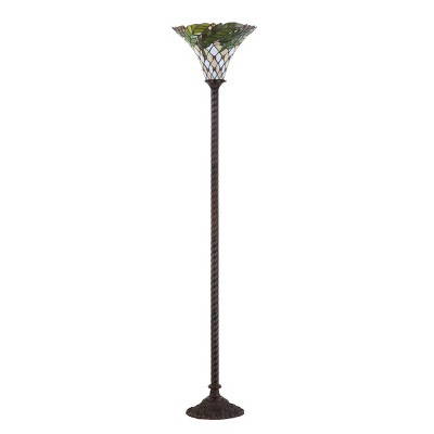 """71"""" Botanical Tiffany Style Torchiere LED Floor Lamp Bronze (Includes Energy Efficient Light Bulb) - JONATHAN Y"""