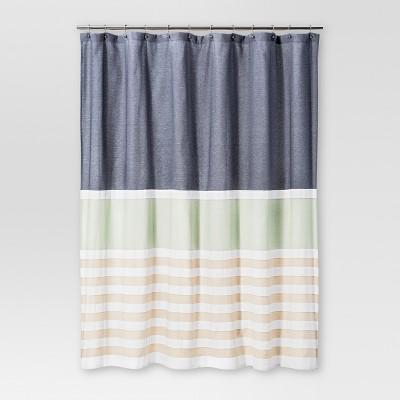 textured stripes shower curtain indigo threshold
