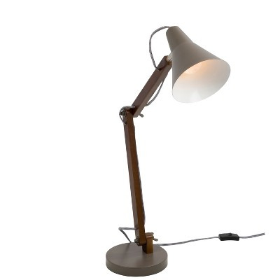 Oregon Industrial Adjustable Table Lamp Walnut (Lamp Only) - LumiSource