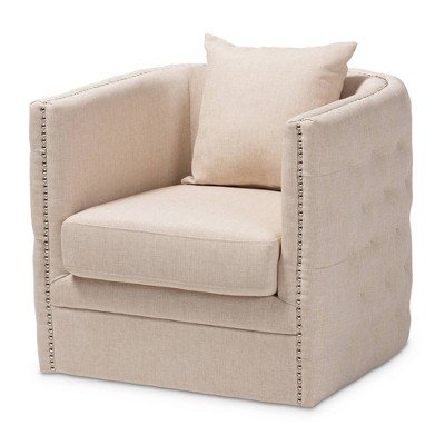 Micah Fabric Upholstered Tufted Swivel Chair - Baxton Studio