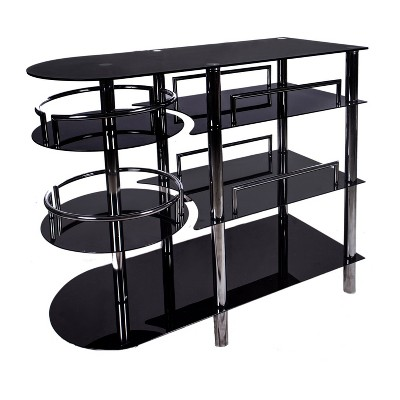 Bar - Metal, Glass - Black/Chrome - Home Source Industries