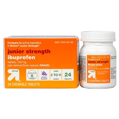 Junior strength ibuprofen nsaid pain reliever  fever reducer tablets compare to motrin grape ct up also rh target