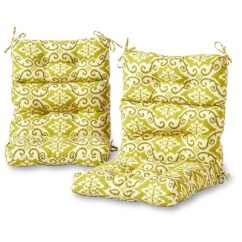 High Back Lawn Chair Cushions Swivel With Footrest Set Of 2 Outdoor Green Ikat Greendale Home Fashions