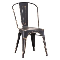 Industrial Style Dining Chairs White Ladder Back Chair Metal Set Of 2 Antique Black Gold About This Item