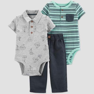 Baby Boys' Boat and Striped Bodysuits and Pants Set - Just One You® made by carter's Gray/Blue/Green