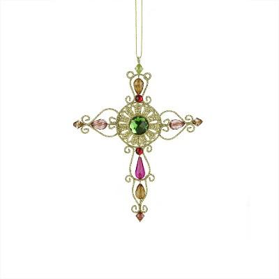 "Raz Imports 7"" Victorian Inspirations Circle Center Wire Cross Christmas Orna"